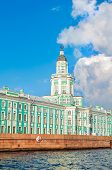 Architecture landscape of St Petersburg Russia - Kunstkamera building at the University quay near the Neva river in St Petersburg Russia. View of St Petersburg landmark in sunny weather poster