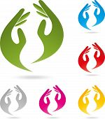 Two hands logo, physiotherapy or naturopathic logo poster