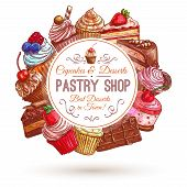 Pastry shop emblem. Patisserie sweets banner. Vector icons of cupcakes, cakes, confectionery, dessert, muffin, biscuit for signboard, tag sticker label poster