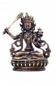 Statuette of Manjushri brandishing sword of wisdom on a white background. Manjushri Still a Youth. Vajrayana deity. poster