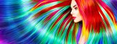 Beauty Fashion Model Girl with Colorful Dyed Hair. Colourful Long Hair. Portrait of a Beautiful Woman with Colorful Dyed Hair, professional hair Coloring. Colouring rainbow hair, bright long haircut poster