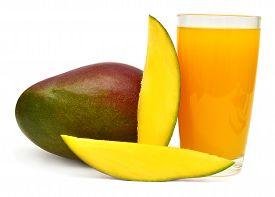 Sliced mango and mango juice isolated on white background