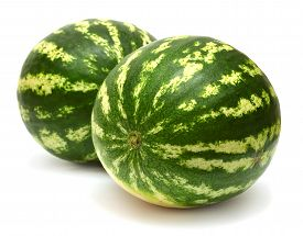 Two watermelon isolated on white background. Macro.