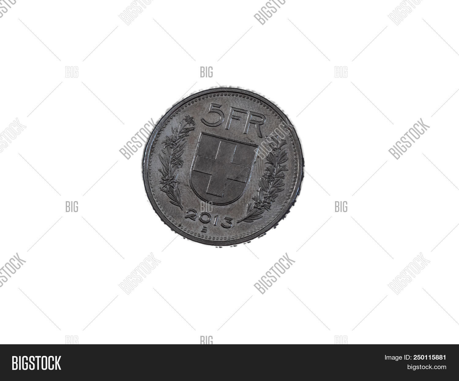 Five Swiss Franc Coin Image Photo