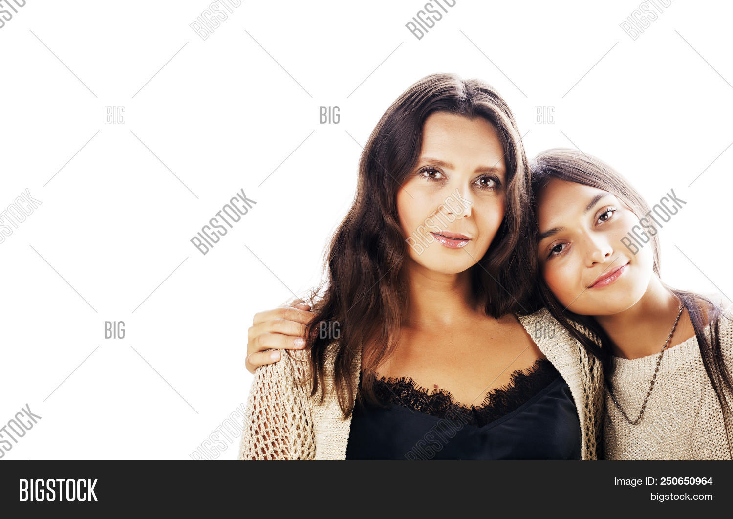 Cute Pretty Teen Daughter With Real Mature Mother Hugging, Fashion Style  Brunette Makeup Close Up