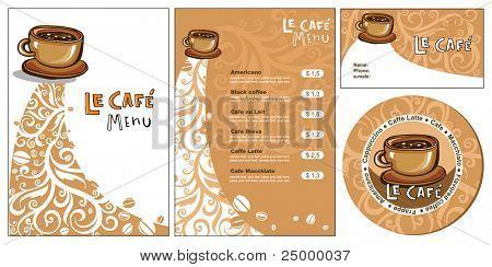Projetos de modelo de menu e cartão de visita para cof