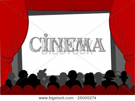 People watching movie at cinema hall, Vector illustration
