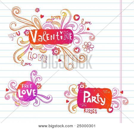 Vector doodle frames for Valentine's day.  Very useful for any project