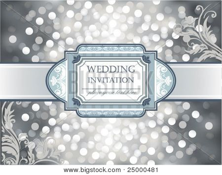 Amazing Wedding invitation or greeting card on silver glittering background. Vector illustration