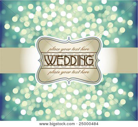 Amazing Wedding invitation on blue glittering background