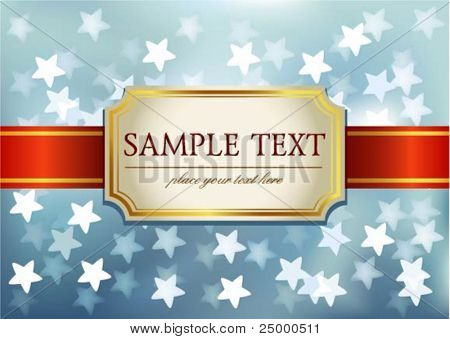 Label on blue glittering background in stars, perfect for invitation on blue