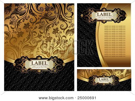 Set of Vintage gold & black luxury decorative ornate menu cover, envelope and certificate