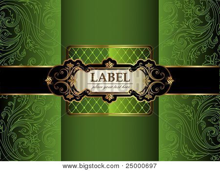 Vintage gold & green luxury decorative ornate background