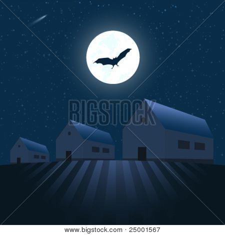Houses under the stars - vector illustration