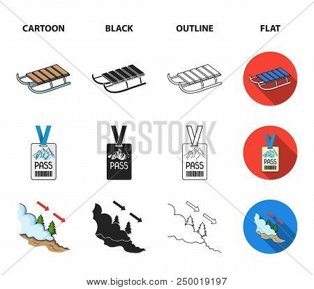 Ski, Sled, Lifeguard Badge, Badge Avalanche. Ski Resort Set Collection Icons In Cartoon, Black, Outl