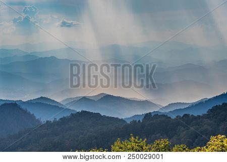 Sun Rays Fall Over Blue Ridge Mountains Along The Blue Ridge Parkway