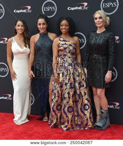 LOS ANGELES - JUL 18:  Aly Raisman, Jordyn Wieber, Tiffany Thomas Lopez and Sarah Klein arrives to the 2018 ESPY Awards  on July 18, 2018 in Hollywood, CA