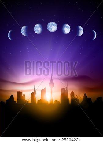 Vector cityscape under the moon