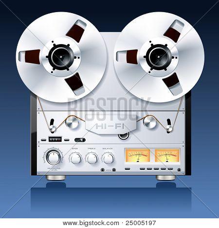 Vintage Hi-Fi analog stereo reel to reel tape deck player recorder vector