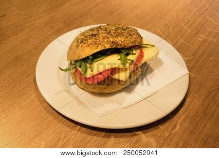 Sandwich On A Plate - Lunchtime - Selective Focus