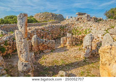 Trepuco Talaiotic Village Ruins at Menorca Island, Spain.