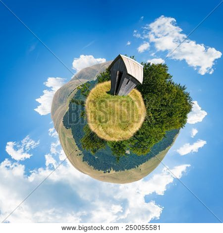 Woodshed On Little Planet Spherical Panorama. Beautiful Countryside Concept With 360 Degree View. Ab