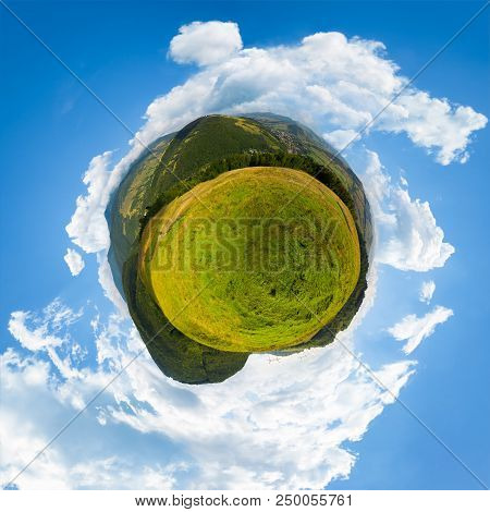 Spherical Panorama Of Little Mountain Planet. Lovely Countryside Concept With 360 Degree View. Agric