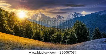 Day And Night Composite Of Mountainous Landscape. Time Change Concept. Perfect Countryside Scenery W