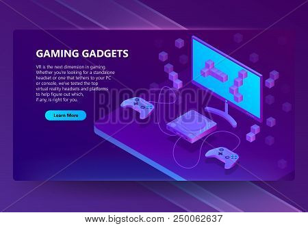 Vector 3d Isometric Template For Site Construction. Portal Background With Button, Violet Game Conso