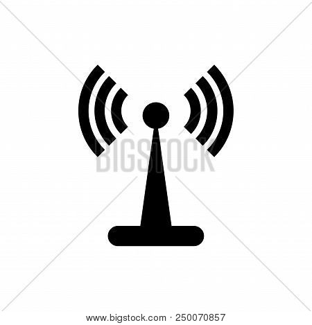 Wifi Signal Tower Vector Icon Flat Style Illustration For Web, Mobile, Logo, Application And Graphic