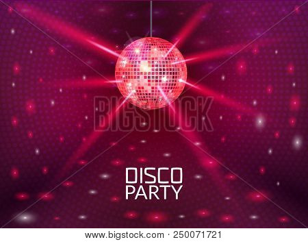 Disco Party Background. Music Dance Vector Design For Advertise. Disco Ball Flyer Or Poster Design P