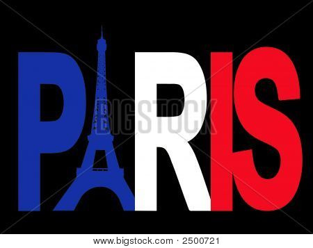 Paris text with Eiffel tower and French flag illustration poster