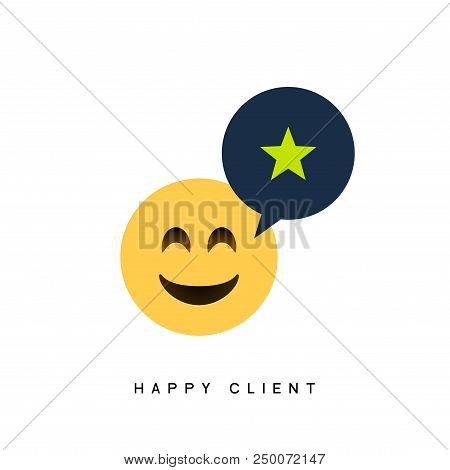 Happy Client Customer Business Icon. Feedback Client Positive Sign Smile Symbol.