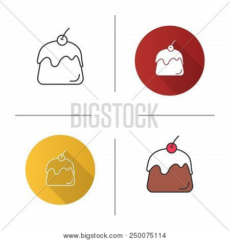 Pudding Icon. Panna Cotta. Flat Design, Linear And Color Styles. Isolated Vector Illustrations