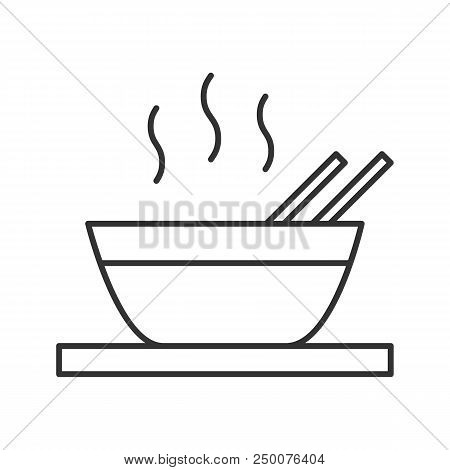 Hot Chinese Dish Linear Icon. Thin Line Illustration. Soup, Ramen, Rice Or Noodles. Contour Symbol.