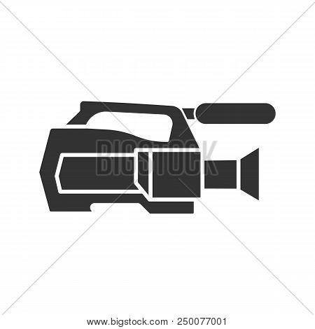 Video Camera Glyph Icon. Videotaping. Silhouette Symbol. Negative Space. Vector Isolated Illustratio