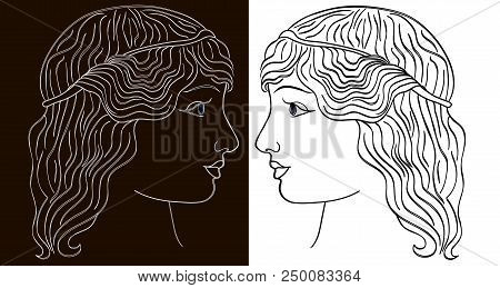 Linear drawing of a female profile . Elegant hairstyle. .White-black. Her hair was coiffed .Beauty salon. vector