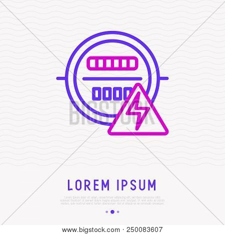 Electric Meter Thin Line Icon. Modern Vector Illustration.