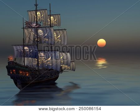 A Pirate Ship Sailing Into Sunset On A Calm Sea, 3d Render Painting