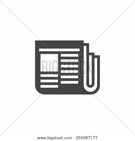 Newspaper Icon In Glyph Style. Web Graphics Print Label. Journal Black Flat Logo. Daily Press, Journ