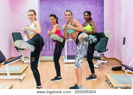 Cheerful fit women holding dumbbells, while doing a lateral leg raise during a group class of cardio kickboxing workout in a trendy fitness centre for ladies only