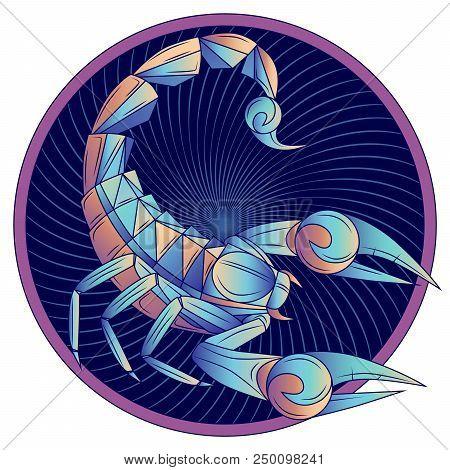 Scorpio Zodiac Sign, Horoscope Symbol. Futuristic Style Icon. Stylized Graphic Blue Scorpion With Ra