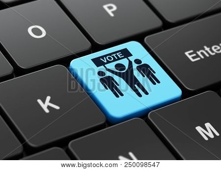 Politics Concept: Computer Keyboard With Election Campaign Icon On Enter Button Background, 3d Rende