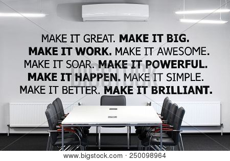 Conference Room.with Conference , Meeting Table And Office Armchair. With Motivation Words On The Wa