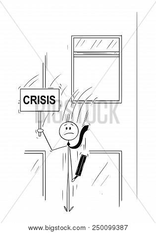 Cartoon stick man drawing conceptual illustration of businessman or banker jumping out of the window and holding sign with crisis text. Business concept of financial crisis or bankruptcy. poster