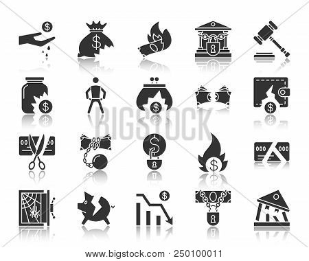 Bankruptcy Silhouette Icons Set. Monochrome Web Sign Kit Of Business. Crisis Pictogram Collection In