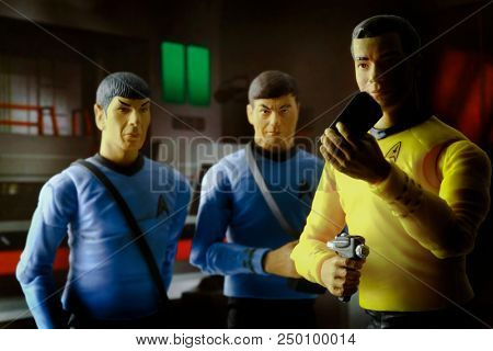 JULY 17 2018: Recreation of a scene from Star Trek The Original Series - Captain Kirk, Mr Spock & Doctor McCoy in an abandoned outpost with dramatic lighting - Art Asylum action figures
