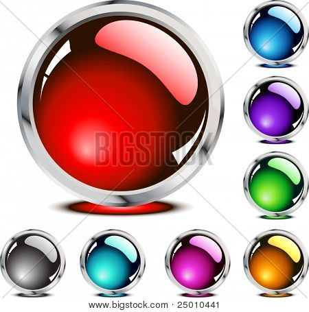 Eight glossy buttons. Vector.