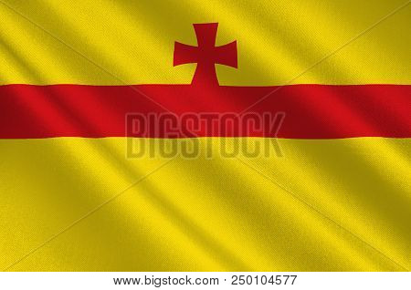 Flag Of Meppen Is A Town In And The Seat Of The Emsland District Of Lower Saxony, Germany. 3d Illust