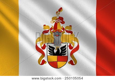 Flag Of Hildesheim Is A City In Lower Saxony, Germany. 3d Illustration